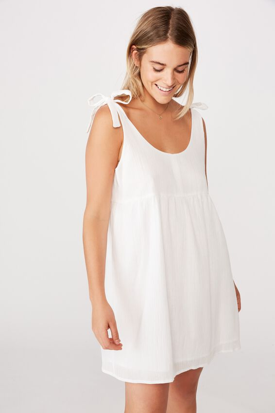 Woven Check Baby Doll Dress, WHITE