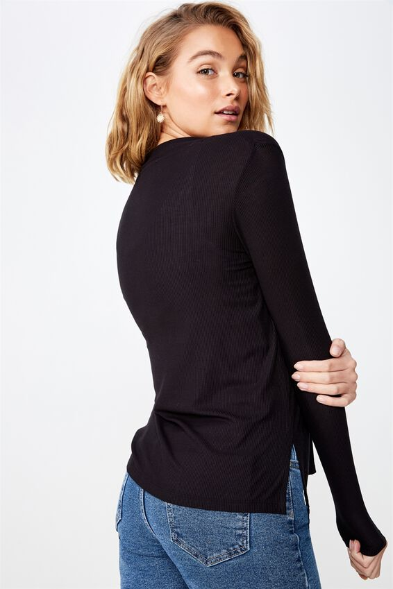 Danielle Long Sleeve Cardi, BLACK