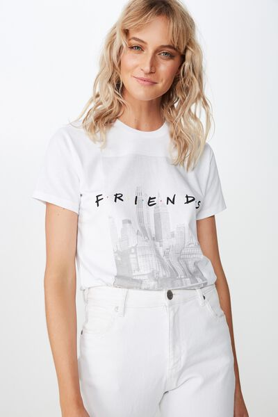 Classic Friends T Shirt, LCN WB FRIENDS NYC/WHITE