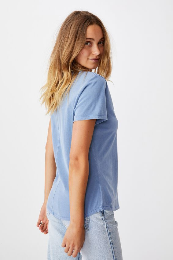 The One Fitted V Tee, WASHED POOLSIDE BLUE