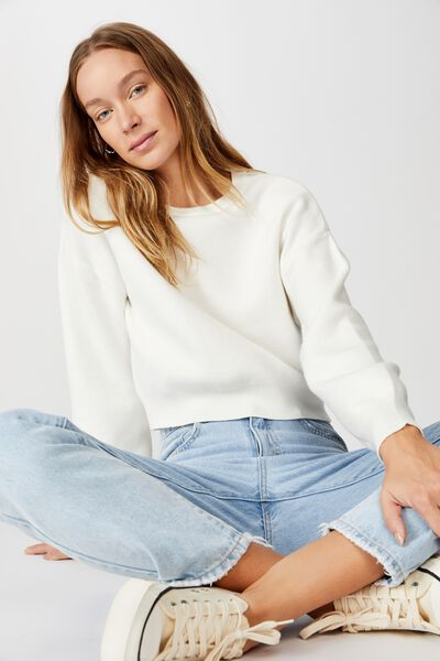 Chloe Crew Luxe Pullover, CLOUD DANCER