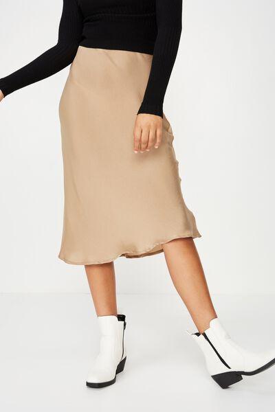 Belle Bias Midi Skirt, TIGERS EYE