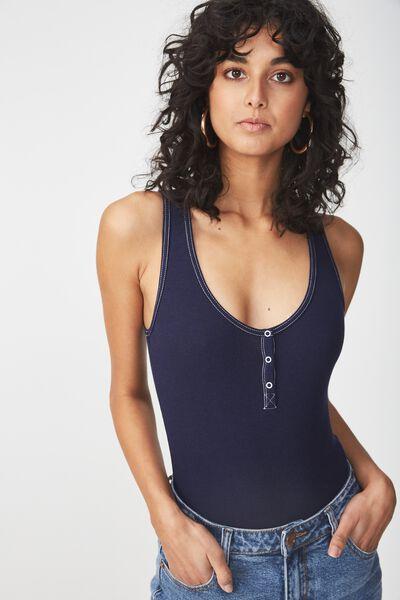 Gabbie Henley Scoop Sleeveless Bodysuit, MOONLIGHT