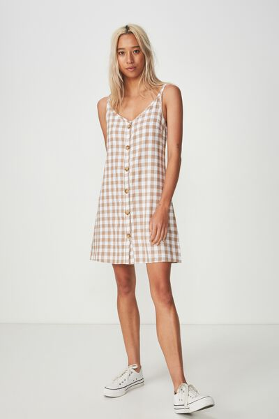 Woven Margot Slip Dress, BUTTON THROUGH DARIA GINGHAM LATTE