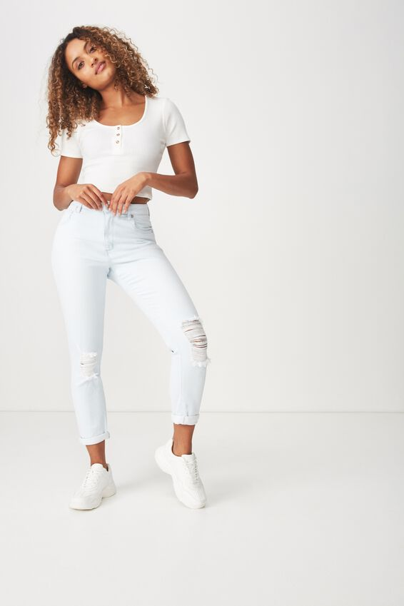 High Rise 90S Stretch Jean, BLEACH BLUE RIP