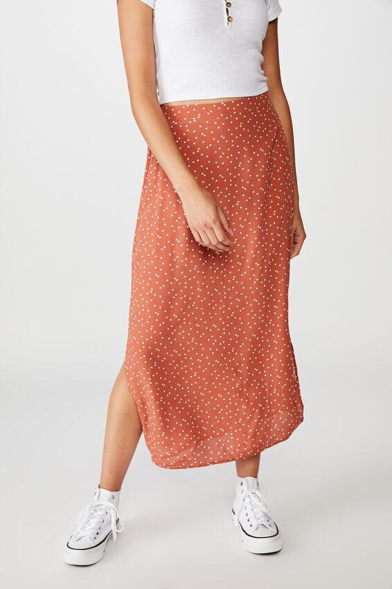 90S Slip Skirt, DAISY SPOT DUSTY BROWN