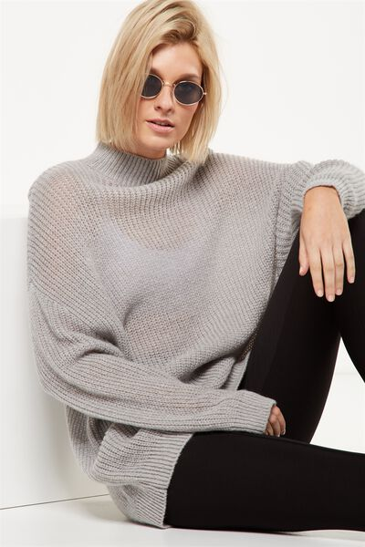 Willow Oversized Cozy Mock Neck Pullover, GREY