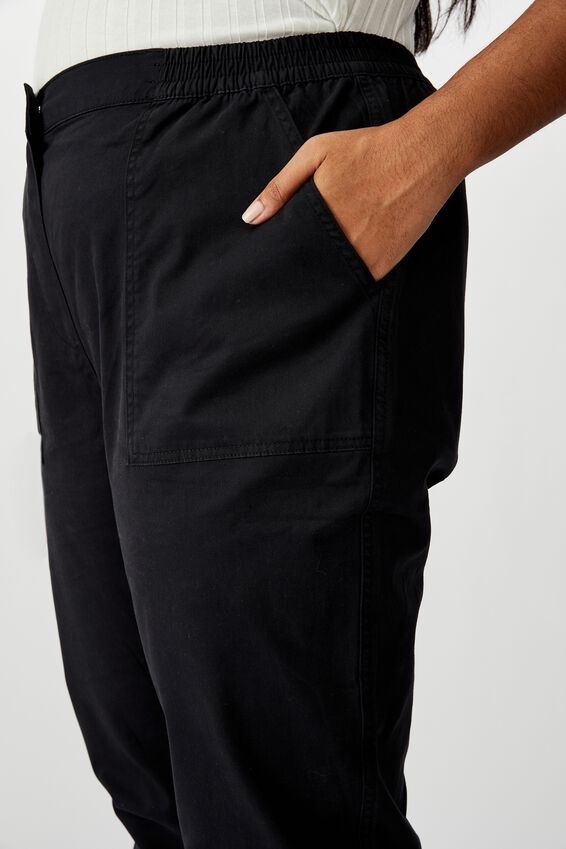 Curve High Rise Cuffed Chino, WASHED BLACK