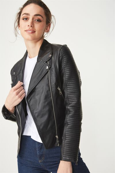 Ali Pu Biker Jacket, BLACK
