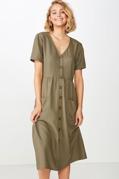 00d79b5a70 NEW. Woven Camila Button Through Midi Dress