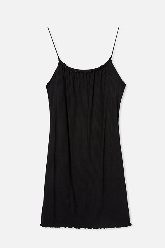 Renee Straight Neck Mini Dress, BLACK