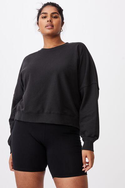 Curve Harper Crew Crop Pullover, WASHED BLACK