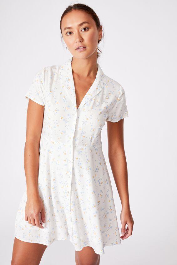 Woven Connie Button Down Mini Dress, LAYLA DITSY WHITE