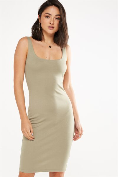Kimi Scooped Bodycon Midi Dress, SILVER SAGE