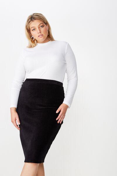 Curve Textured Tube Cord Skirt, BLACK