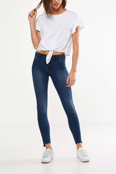 Mid Rise Jegging, DARK CRUSH BLUE TRASH HEM