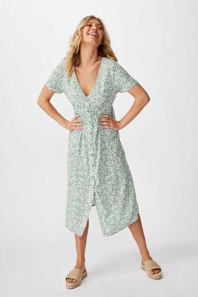 Woven Clover Short Sleeve Midi Dress, TAYLAH DITSY GREEN BAY