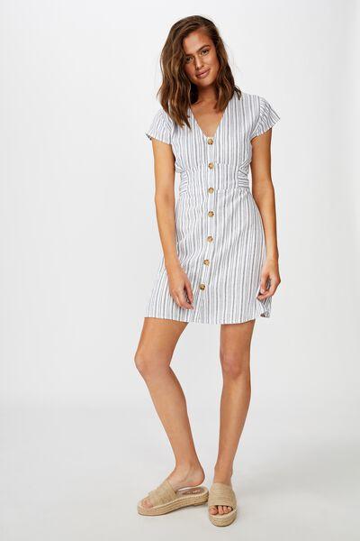 Woven Jenny Deep V Mini Dress, ANGIE STRIPE MOOD INDIGO