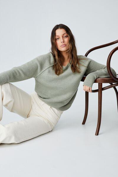 Australian Wool Blend Pullover, SAGE