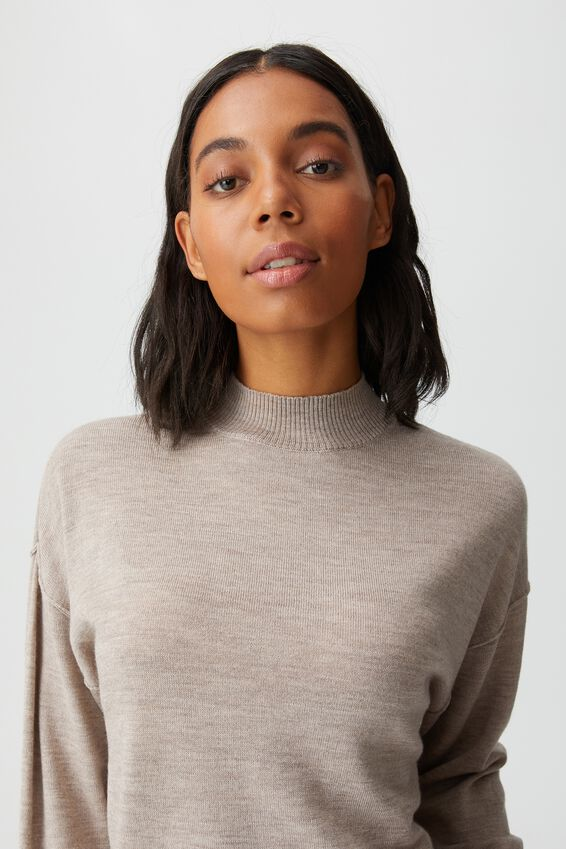 Wool Crew Neck Pullover, TAUPE MARLE