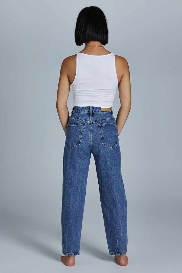 Petite Slouch Mom Jean, LUCKY BLUE