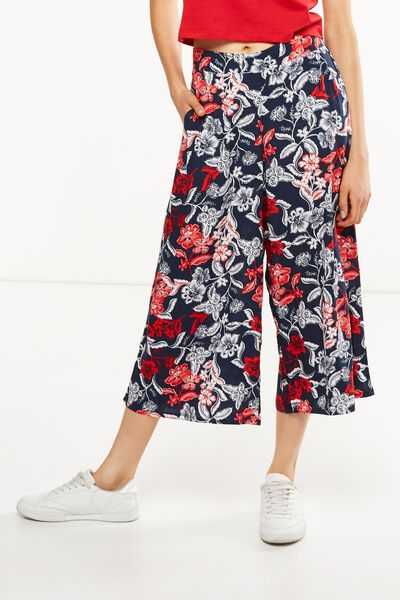 Mid Rise Drapey Culotte Pant, AMERICAN FLORAL
