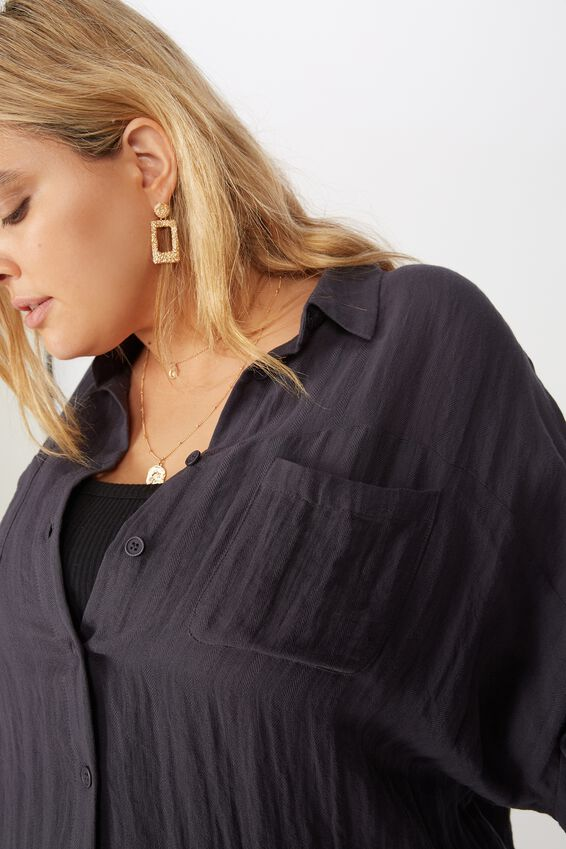 Curve Oversized Drop Shoulder Shirt, WASHED EBONY