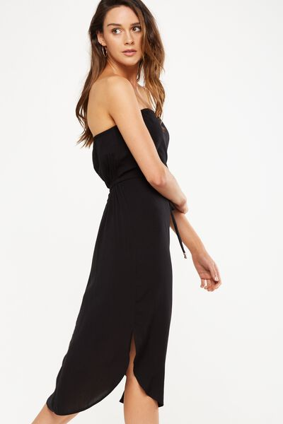 Woven Bindy Bandeau Midi Dress, BLACK