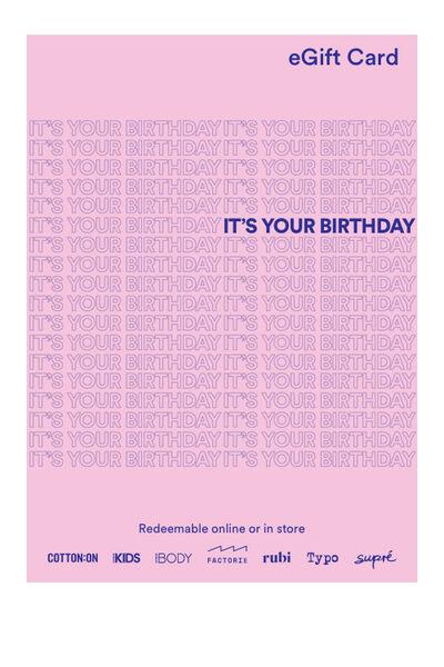 eGift Card, Cotton On Happy Birthday