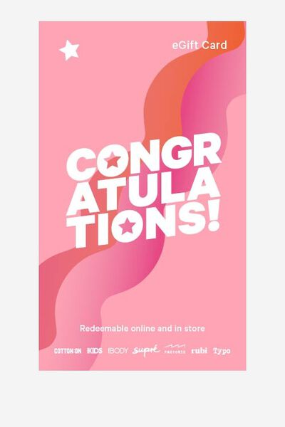 eGift Card, Supre Congratulations
