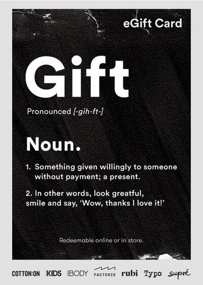eGift Card, Typo Gift Noun
