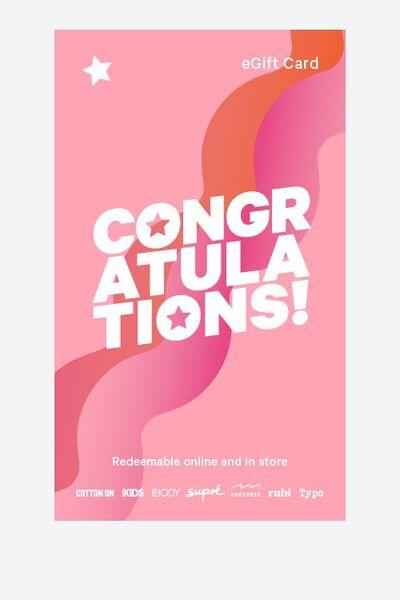 eGift Card, Supre Congratulations