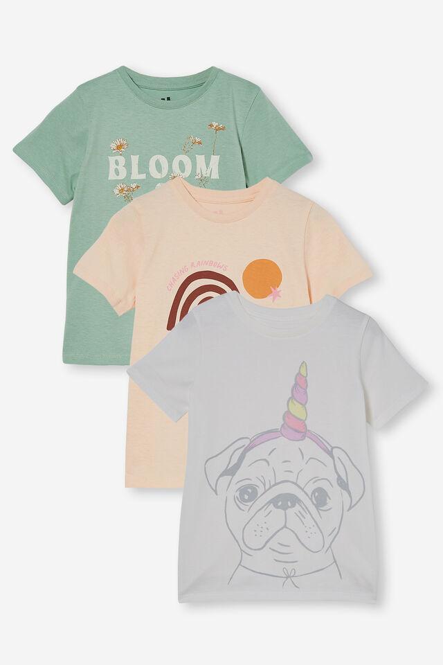3 Pack Penelope Short Sleeve Tee, Peach Rainbow/Avo Bloom/Pugicorn
