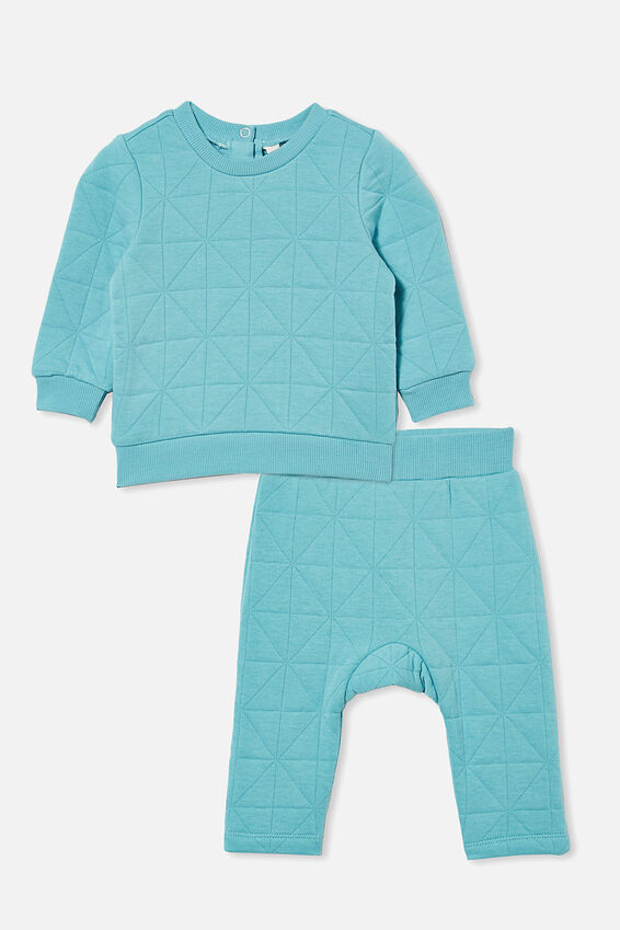 Quilted Sweater and Trackpant Bundle, Blue Ice
