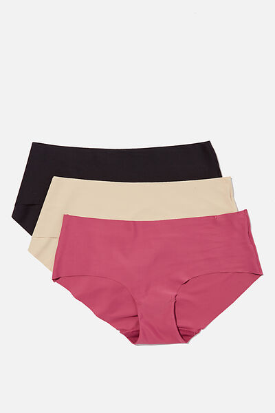 Multipack 3pk Invisible Boyleg Brief, Black, Frappe, Raspberry Orchid