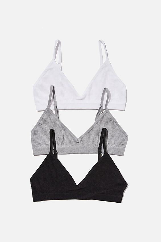 Multipack 3pk Seamfree Triangle Bralette, Black, White, Grey Marle