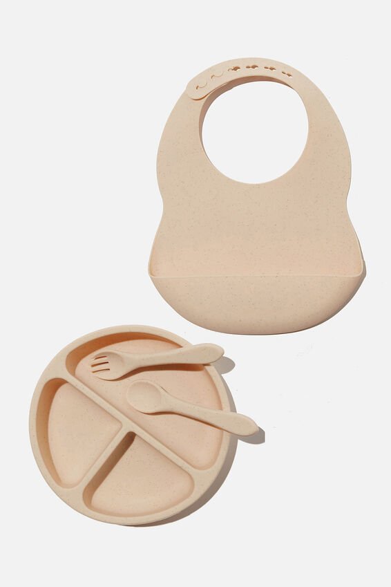 Baby Bib and Plate Bundle, Oatmeal Speckle