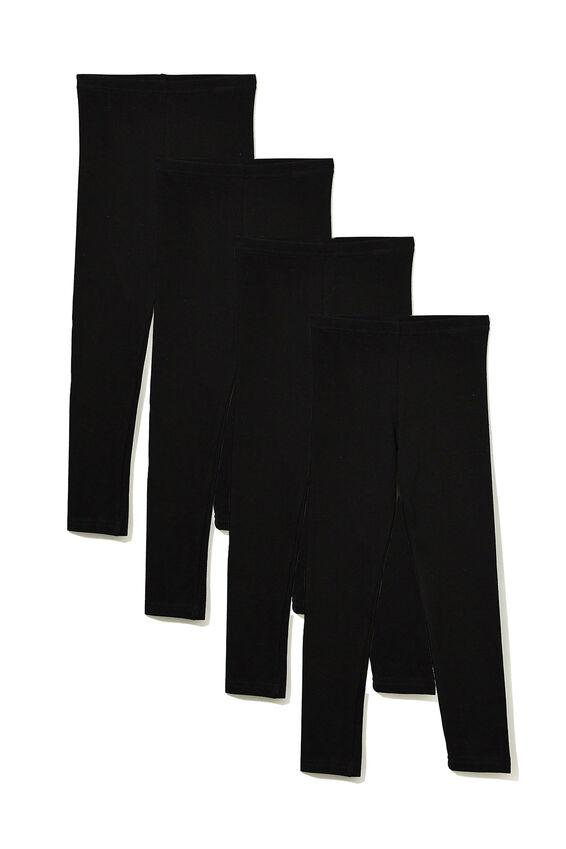Girls Leggings Bundle, Black Basic Pack