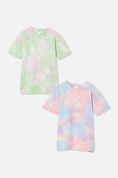 2 Pack Scout Drop Shoulder Tee, Wash Spearmint/Cali Pink