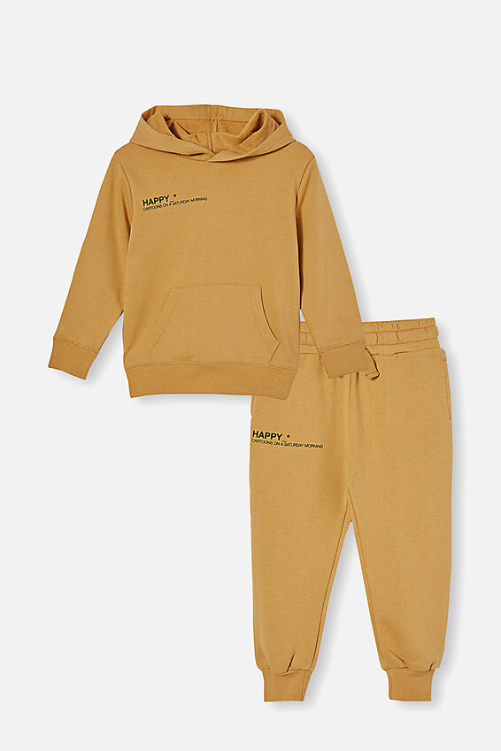 Hoodie and Trackpant Bundle, Honey Gold/Happy