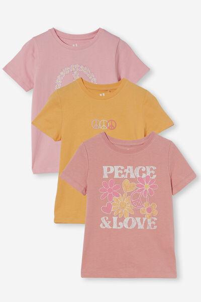 3 Pack Penelope Short Sleeve Tee, Peace Marshmallow/Peace Musk Rose/Peace Papaya