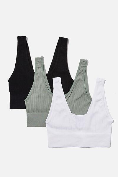 Multipack 3pk Seamfree Reversible Crop, Black, White, Desert Sage