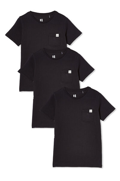 3 Pack Kids Core Tee, Core Black