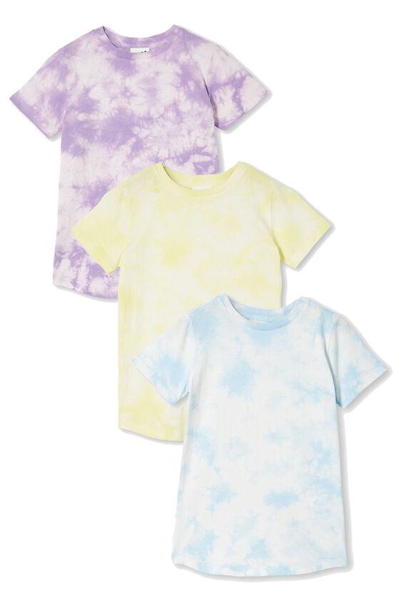 3 Pack Cruz Short Sleeve Long Line Tee, Tie Dye