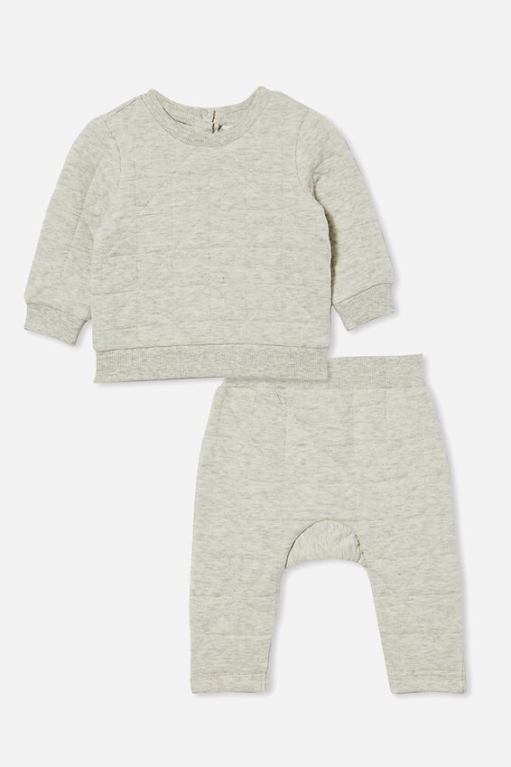 Quilted Sweater and Trackpant Bundle, Cloud Marle