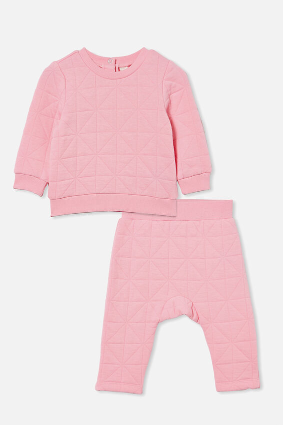 Quilted Sweater and Trackpant Bundle, Cali Pink