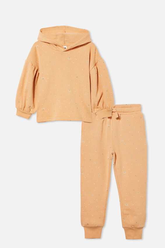 Puff Sleeve Hoodie and Trackpant Bundle, Peachy/ Naive Heart