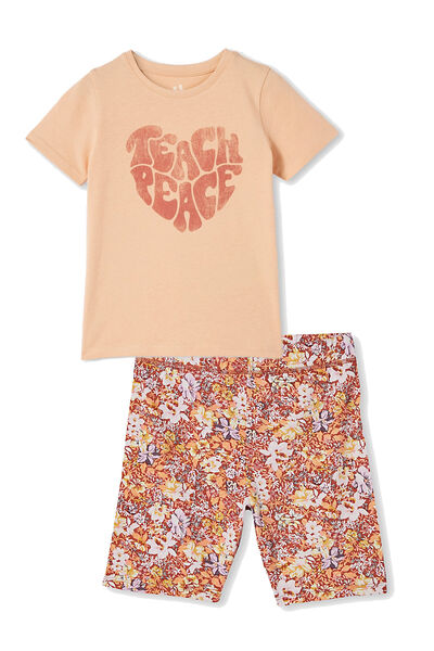 Girls Bike Short and Tee Bundle, Chutney Peace