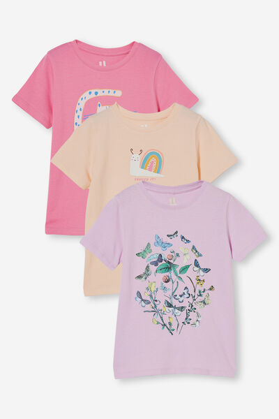3 Pack Penelope Short Sleeve Tee, Quirky Cat/Peach Snail/Violet Garden