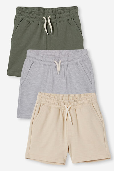 3 Pack Henry Slouch Short 80/20, Grey Marle/Rainy Day/Swag Green